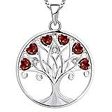 YL Collar Árbol de la Vida para Mujer Plata de Ley 925 Colgante de Árbol Genealógico de Granate con Piedra Natal de Enero, 45 + 3 CM