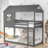 Kids House Bunk Bed with Roof, Wood Bunk Bed with Guardrails and Ladders for Kids/Teens/Girls/Boys/Todders (Grey)