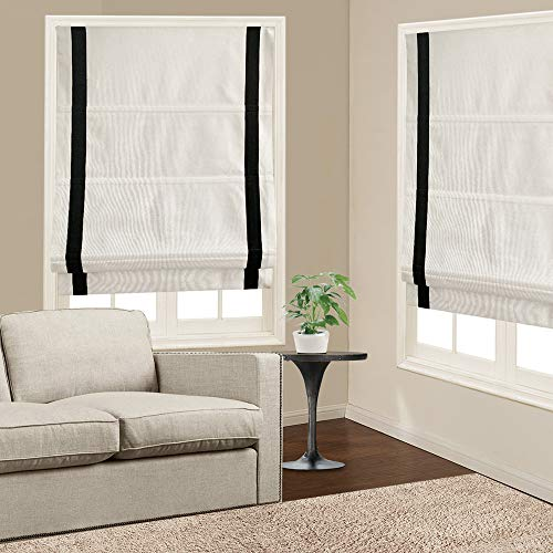 Roman Shades Window Blinds, White Black Premium Blackout Roman Window Shades, Custom Washable Fabric Roman Shades for Windows, Doors, French Doors, Kitchen Windows (1 Piece)