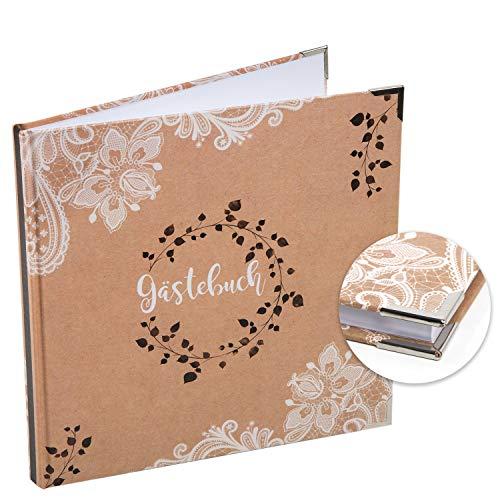 Logbuch-Verlag quadratisches Gästebuch braun weiß 21 x 21 cm - Hochzeitsgästebuch Boho-Stil...