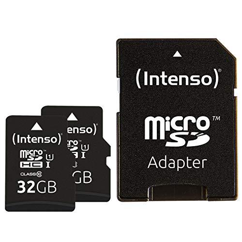 Intenso MicroSDHC UHS-I Premium 2x32GB, Class 10 Speicherkarte inkl. SD-Adapter (bis 45Mbps) schwarz, 3423482