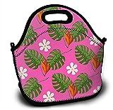 Mochila de neopreno para niños, diseño tropical, con hojas y flores, bolsa de la compra, bolsa para el almuerzo, con correa de hombro ajustable para niños y niñas