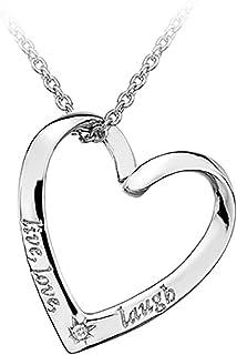 Lily & Lotty 镀铑 925 纯银手工镶嵌钻石黑暗生活、爱情和欢乐心形项链,长度40 厘米 + 5 厘米 延长链