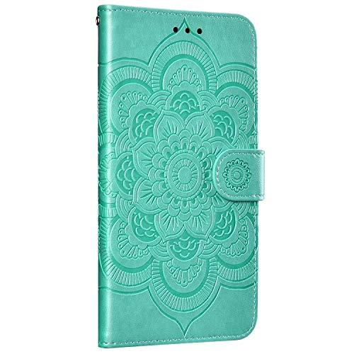 Saceebe Compatible avec iPhone 11 Pro Coque Housse en Cuir Pochette Portefeuille Etui Fille 3D Motif Mandala Fleur Coque Housse de Protection à Rabat Magnetique Flip Cover Stand,Vert