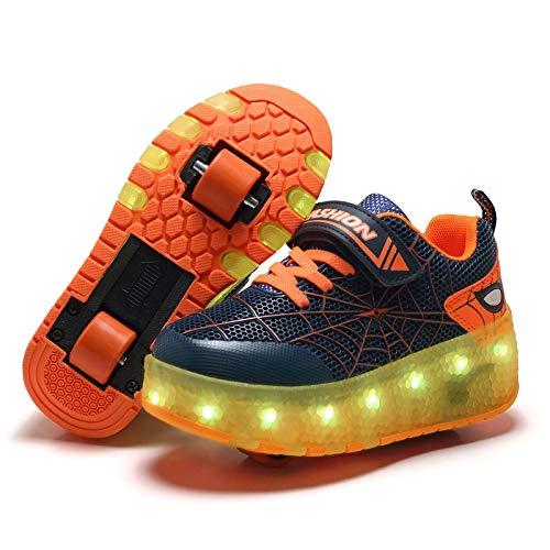 Niña Niño Luces LED Zapatos de Skate con Ruedas, Ajustable Rueda Roller Niña Niño LED Luces Skate Roller Zapatos con USB Recargable, Ajustable Rueda Roller Doble Rueda Patines Luminosas Skateboard