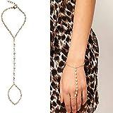 TseenYi Pulsera de perlas esclavas de agua dulce, pulsera de dedo de plata bohemia, cadena de mano para mujeres y niñas (dorado)