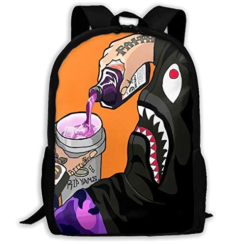 Mochila con estampado de tiburón para llevar a la escuela, viaje, portátil, mochila con impresión 3D, para niños y hombres