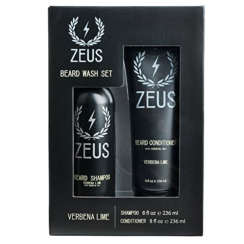 ZEUS Beard Shampoo and Beard Conditioner Set for Men - (8 oz. Bottles) (Scent: Verbena Lime)
