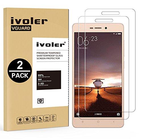 iVoler [2 Pack] Pellicola Vetro Temperato per Xiaomi Redmi 3 / 3S / 3 PRO, Pellicola Protettiva Protezione per Schermo per Xiaomi Redmi 3 / 3S / 3 PRO