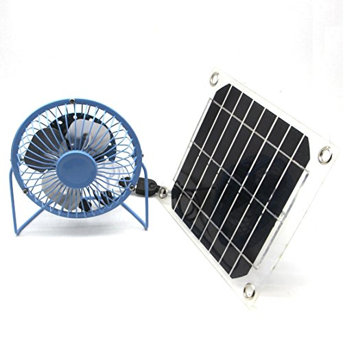solar fan USB 5W Iron Fan 4 inch Cooling Ventilation Car Cooling Fan Blue for Chicken coop Camping Caravan Yacht Greenhouse Dog Hous