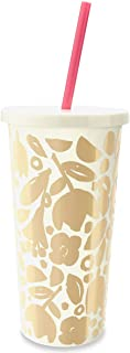 Kate Spade New York Women's Floral Tumbler with Straw Gold One Size