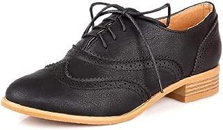 Women Fashion Casual Lace Up Round Toe Women Oxford Shoes Flats Boyfriends Shoes Women Brogue Shoes