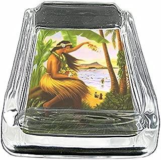 Glass Square Ashtray Vintage Hawaiian Art Design 001