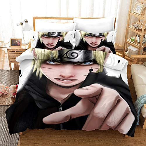 SKYZAHX Bedding Set Duvet Cover Naruto Characters Microfiber Quilt Cover 79x79inch and 2 Pillow Cases, with Zipper closure Soft and breathable, Double