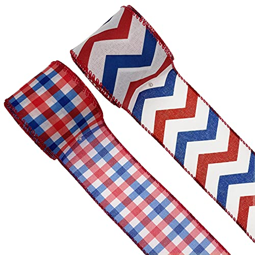 2 Rolls Patriotic Wired Edge Ribbons Independent Day Plaid Stripe Ribbon for 4th of July Decoration 10 Yards(Color A)