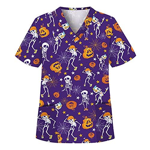 Briskorry Casaca de Halloween para mujer, cuello en V, para enfermeras, multicolor, tallas grandes, uniformes profesionales, Lila-1, L