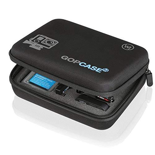 Wicked Chili 845352 GOP Case tas voor GoPro Hero 8/7/2018/6/5/4/Apeman/Crosstour/Akaso koffer Bag draagtas voor camera, mod en accessoires (maat: M, handvat, netvak), Zwart