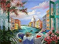 Diyデジタル絵画デジタル絵画ヴェネツィアウォーターアートキャンバス絵画キャンバス絵画ブラシとアクリルで設定された子供の絵画