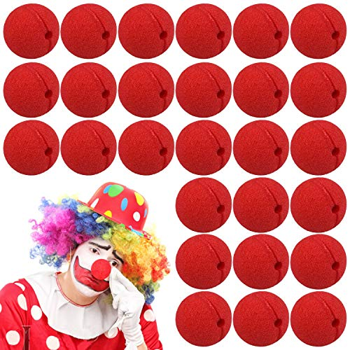 FEIGO Espuma Clown Nose, 30 Piezas Red Nariz de Payaso Divertido Halloween Costume Party