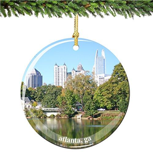 City-Souvenirs Atlanta Christmas Ornament, Porcelain 2.75' Double Sided Georgia Christmas Ornaments