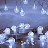 Globe Fairy String Lights 10M 60 LEDs Ollny Indoor Bedroom Outdoor Christmas Party Festoon Lights with Remote Plug in White