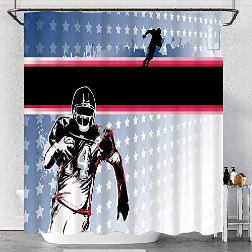 Codruy Duschvorhang Wasserdicht Baseball American Football-Spieler, der im Feld mit dem Stern-Muster läuft mit Haken, waschbare Badvorhänge
