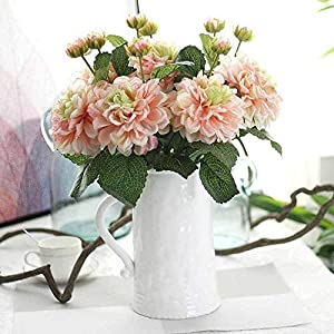 HGDD Artificial Flowers Silk Flower Wedding Roses Dahlias Artificial Flowers Fall Vivid Fake Leaf Wedding Flower Bridal Bouquets Decoration (Color : Pink)