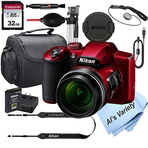 Nikon COOLPIX B600 (RED) 16.7 MegaPixel Digital Camera + 32GB Card, Tripod, Case and More (13pc Bundle)