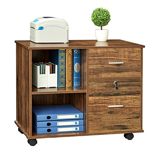GreenForest 2 Drawers File Cabinet Wooden Lateral File Cabinet with Open Storage Shelves Printer Stand Rolling File Cabinets with Lock for Letter Size or A4 Hanging File Folders,Walnut