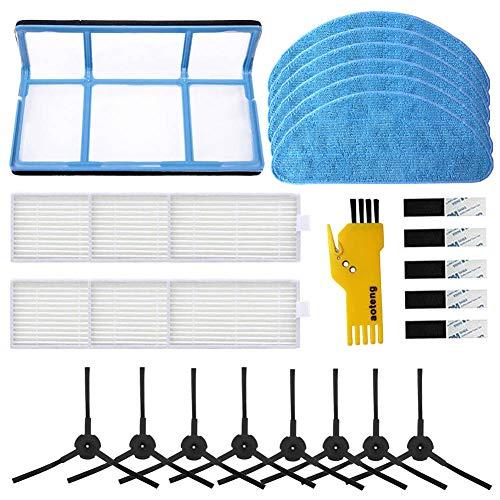 Kit di accessori di ricambio per aspirapolvere robot ILIFE V3 V3s V5 V5s V5s Pro, pezzi di ricambio Confezione da 6 filtri e 6 stracci e 8 spazzole laterali