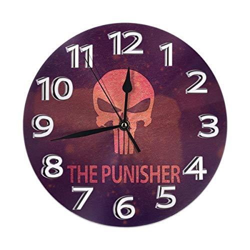 DZCP-y Reloj de Pared Redondo Reloj de Arte de Pintura al óleo sin Pilas RAD Skull Cráneo