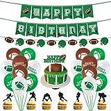 Toyvian 46pcs Anniversaire fête décoration Joyeux Anniversaire bannière Ballons Cupcake Topper pour Rugby Football Articles de fête faveur