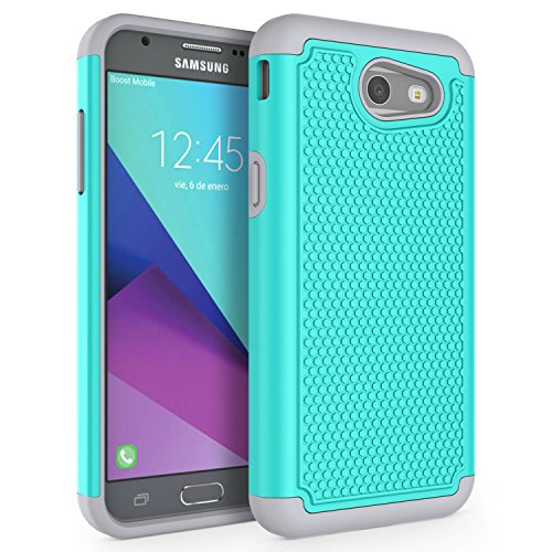 Case for Samsung Galaxy J3 Emerge / J3 2017 / J3 Prime / J3 Mission / J3 Eclipse / J3 Luna Pro/Sol 2 / Amp Prime 2 / Express Prime 2, SYONER [Shockproof] Defender Phone Case Cover [Turquoise]
