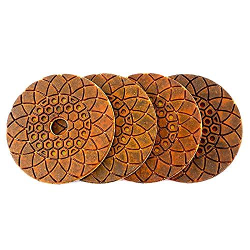 Almohadilla de pulido de diamante 4 unids húmedo/seco 4'/ 100 mm de metal de cobre almohadillas de pulido de diamantes de diamante para el granito de granito de hormigón Disco de molienda de piedra