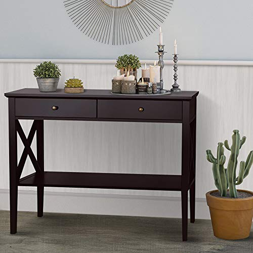 ChooChoo Console Sofa Table Classic X Design with 2 Drawers, Entryway Hall Table, Accent Tables Easy Assembly (Espresso)