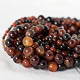 Alta qualità di grado A naturale agata Sardonica (arancione, nero) semi-pietra preziosa rotonda Beads – 4 mm, 6 mm, 8 mm, 10 mm Dimensioni, Black/Orange, approx 6mm (65 - 68 beads)
