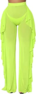 wsevypo Women Sexy See Through Sheer Mesh Ruffle Pants Perspective Swimsuit Bikini Bottom Cover up Party Clubwear Pants