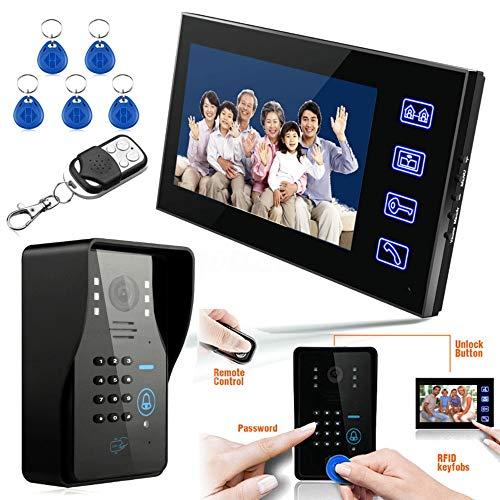 Video deur-draadloze deurbel-deurbel-kit touch-toets 7 inch LCD RFID wachtwoord videodeurintercomsysteem Intercom-System Wth IR-camera 1000 TV-lijn Remote Access Control System 2020 nieuwe