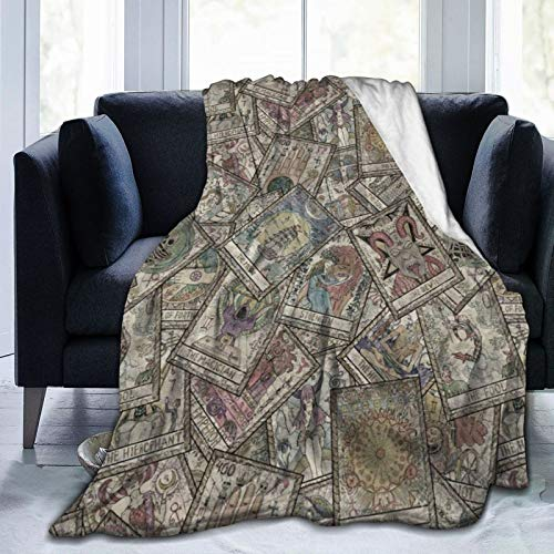 DPQZ Throw Blanket Old Colorful Tarot Cards Vintage Ultra Soft Flannel Fleece Bed Blankets All Season Cozy Plush Blankets For Living Room/Bedroom 60'X50'