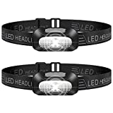 LED Head Torch, 2 Pack Lightweight Headlamp, USB Rechargeable Super Bright Waterproof Headlight