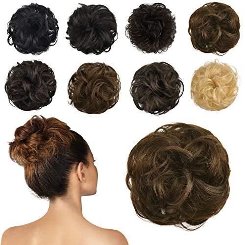 FESHFEN 100% Human Hair Bun Extension, Messy Bun Hair Piece Curly Hair Scrunchies Chignon Ponytail Extensions for Women Girls Updo Donut Hairpiece, Dark Brown