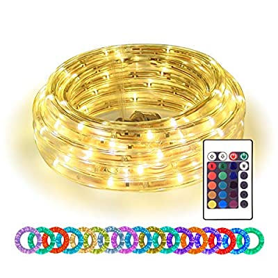 16ft LED Rope Lights, Color Changing Strip Lights with Remote, Flexible Connectable and Dimmable Tube, Waterproof for Indoor Outdoor Use, 17 Colors and 6 Modes