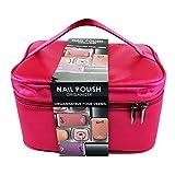 Gloss! - Organizador de Barniz de Uñas de color Rosa - Hermoso bolso organizador de uñas de seda...