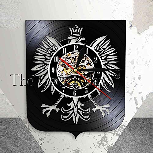 jiushixw Polnische Jacke Polska Wanduhr Patriotischer polnischer Adler Polnische Jacke Polnischer Falke Vintage Schrift Rekord Wanduhr