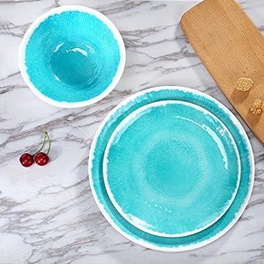 Melamine 18-Piece Dinnerware Set - Hware Dinner Plates Set for Indoor and Outdoor Use, Service for 6, Dishwasher Safe, Teal