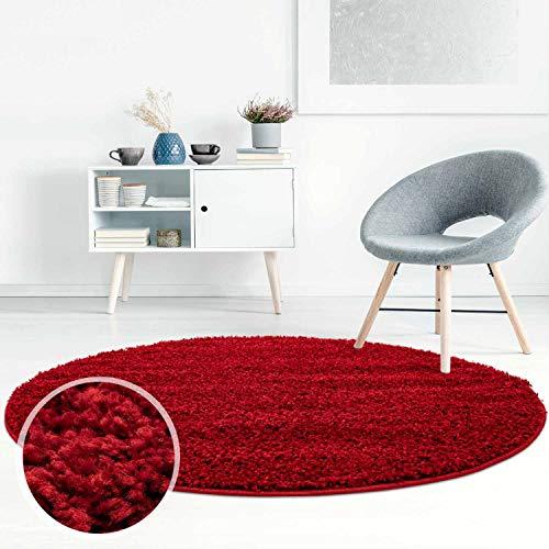 ayshaggy Shaggy Teppich Hochflor Langflor Einfarbig Uni Rot Weich Flauschig Wohnzimmer, Größe: 200 x 200 cm Rund