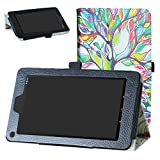 Ematic EGQ373BL Case,Bige PU Leather Folio 2-Folding Stand Cover for 7' Ematic...