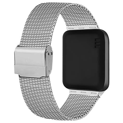 Meliya Cinturino Compatibile per Apple Watch Cinturino 44mm 42mm 40mm 38mm Series 6 5 4 3 2 1 SE, Cinturino in Metallo Maglia Milanese a Acciaio Inossidabile Cinturini (38/40mm, Argento)