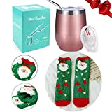 FUNCUBE for Women Girls Mom Lovers, Wine Tumbler + Xmas Fluffy Winter Socks, 12 oz Stainless Steel Double Insulated Stemless Wine Glass with Lid and Straw