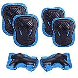 Kaiyei Niños Protecciones Skateboard 6 Piezas Conjuntos, Rodilleras & Muñequera & Coderas, Respirable Proteccion Kit para Patines Ciclismo Bici Skateboard Scooter Azul S